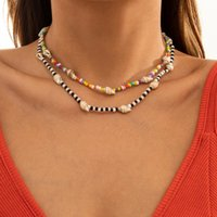 Chains IngeSight.Z Natural Seashell Cowrie Conch Short Choker Necklaces For Women Rainbow Colorful Seed Beaded Collar Jewelry