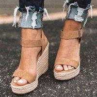 Cootelili Woman Sandal Sandalias 라운드 발가락 하이힐 패션 버클 여성 신발 검은 카키 플러스 크기 41 42 43 210619 Y4GX6QZ5