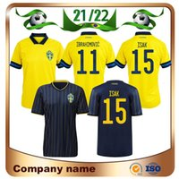21/22 Suécia Futebol Jerseys 2021 Home # 11 Ibrahimovic # 15 Isak # 10 Forsberg # 8 Ekdal Away homem National Team Football Shirts Uniforme