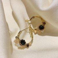 Korean Style Flower Crystal Earrings Gold Plating Vintage Dangle Earring Female Temperament Hoop Earring Jewelry