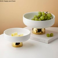 Dishes & Plates Creative Round Ceramic Fruit Plate Tall Gilded Base Dessert Salad Bowl Home Coffee Table Snack Kitchen Utensils Porcelain