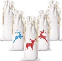 Wine Bottle Bag with Drawstring Sublimation Blank Wine Bag Polyester Heat Transfer DIY Bag for Christmas