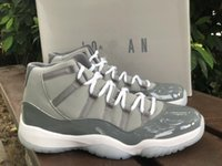 2021 Release Authentic 11 Cool Grey Medium Vit Män Outdoor Shoes Patent Läder Real Carbon Fiber Sport Sneakers med Original Box CT8012-005 Jumpman