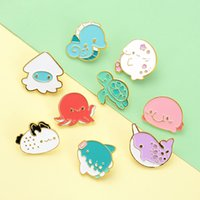 Turtle Octopus Cute Small Funny Enamel Brooches Pins for Women Girl Men Christmas Gift Demin Shirt Decor Brooch Pin Metal Kawaii Badge1125 T