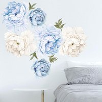 Wall Stickers Watercolor Pink White Peony Rose Flowers For Kids Room Living Bedroom Home Decoration Decal Decor
