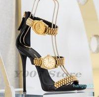 2021 New Metal Leather Women Sandals With Golden Watch Peep-Toe Thin Shoes Neon Green Gladiator Roman High Heels Women Pumps