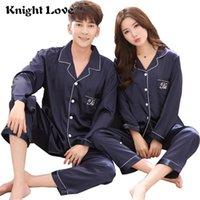 Pyjama Anzug Satin Seide Mann Pyjamas Sets Paar Nachtwäsche Langarm Pijama Liebhaber Nachtanzug Männer Frauen Casual Home Kleidung