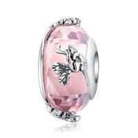 Новые 925 серебряные розовые муранские стеклянные бусы Медведь Божья коровка чарки бусины подходят браслет Pandora ожерелья для женщин DIY