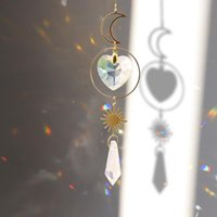 Garden Decorations Love Star Moon Metal Ring Crystal Suncatcher Prisms Hanging Rainbow Chaser Lighting Accessories For Pendant Decor
