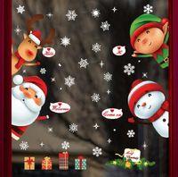 Window Stickers 1 Pcs Christmas Sticker PVC Static Snowflake Santa Claus Elk Color Glass Home Decoration