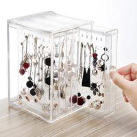 Storage Boxes & Bins Earrings Shelf Transparent Acrylic Jewellery Pylon Ear Studs. Necklace Plastic Three Drawer Box