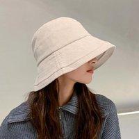 Wide Brim Hats YQYXCY Bucket Hat Women Autumn Winter Beanie Fisherman Cap Corduroy Ear Protection Windproof Sunshade Korean Female Solid