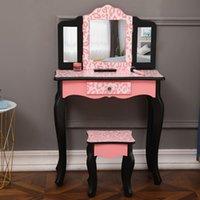 Waco Red Leopardプリント子供の虚栄心セット、プリンセスガールメイクアップドレッシングテーブル、3倍の鏡、引き出し、椅子のふりをする美容玩具、誕生日の子供の日のギフト