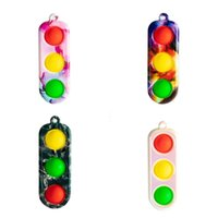 Decompression Traffic Lights Simple Dimple Fidget Toy Small Stress Relief Keyring Pendant Autism Special Needs Adult Kids Toys 4139 Q2