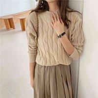 Qoerlin Herbst dünne Pullover für Frauen Mode Langarm O-Neck Bottoming Pullover Weibliche Süßigkeiten Farbe Strick Jumper Twist Ponch 210416
