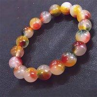 Peach Blossom Rote Kristall Frauen Designer Armband 10mm Naturstein Damen Perlen Armband Armreif Elastische Schnur Pulserase Schmuck 996 B3