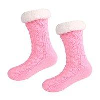 Kvinnor Winter Fleece Foder Stickar Socks Non Slip Warm Fuzzy Mysiga Slipper Strumpor 1 Par