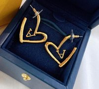 Fashion Gold Color Love Heart Stud Earrings Luxury Designer Necklace Bracelet Chain Wedding Party For Women Lady Lovers Gift Engagement Jewelry With Box