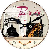 Retro High Heels Design Classic Paris Women Bag Wall Clock Fashion Silent Living Room Home Decor Round Wooden Clocks