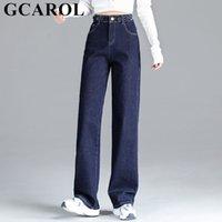 Gcarol mujer alta cintura ancha pierna jeans 85% algodón trapeado pantalones de mezclilla primavera otoño invierno vellece longitud extra más tamaño 32 Y0320