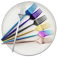 Dinnerware Sets 8pcs Black Fork Set 304 Stainless Steel Flatware Gold Blue Cutlery Home Silverware Tableware Accessories