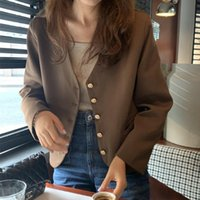 Women's Jackets Chic Early Autumn Top Short Style Suit Coat Female Korean Elegant V-neck All-matching Casual Small