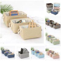 Leinen Aufbewahrungskörbe Lagern Bins Box Organisieren mit Baumwollseilgriffe Stoffkorb für Geschenke Leere Home Office Spielzeug Kinderzimmer Kleidung