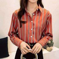 Kadın Bluzlar Düğme Aşağı Uzun Kollu Baskılı Üst Çizgili Gevşek Ofis Bayanlar Için Çift Artı Kadın Gömlek Bluz Sıcak