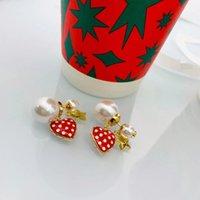 75% de descuento en Outlet Onlinenew Chapado Simple Fashion Letra Pearl Strawberry Net Red Star Mismos Pendientes