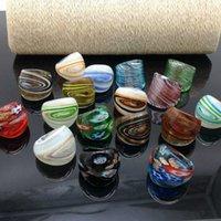17pcs / lot zufällig gemischt mit farbigen Glasurringen Murano Goldfolie Farbe Ring mehr 17-19 mm 210623