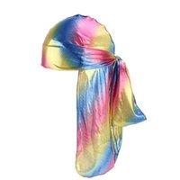 Bunte funkelnde durags turban bandanas männer glänzende seidige durag headwear stirnbänder haarabdeckung wellenkappen gd301 865 q2