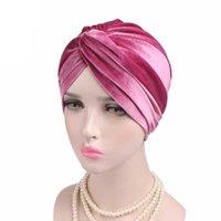 Nueva moda anudada musulmán estiramiento mujeres terciopelo cruz turbante sombrero bufanda quimioterapia quimioterapia gorro gorros tapas de cabeza de cabeza caliente y0911