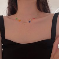 Chokers Fashion Candy Color Glazed Flower Pendant Gold Beaded Metal Necklace For Women Girls Jewelry Accessories 3392 Q2