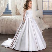 Plbbfz Blume Langweißes Kleid Kinder Kleider für Kinder Prinzessin Kleid Mädchen Party Bereiten Sie das Hochzeitskleid 10 12 JAHR VESTIDOS C0228