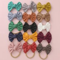 Hair Accessories Nylon Knitted Baby Bows Headbands For Girls Elastic Bands Children Kids Hoop Infant Headwrap