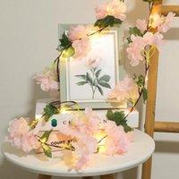 Cuerdas 2m 20LED Flower LED String Light Pink Blanco Hydrangea Vine 4.5V Power Power Barland Lámpara Decoración de vacaciones para el dormitorio en casa