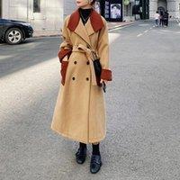 Женская шерстяная смесь навязки Foryunshes теплые толстые панели на панелях 2021 дамы осень зима мода смесь зубчатая воротник длинный куртка пальто