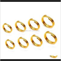 100 pçslote Fashion 3 4 5mm aço inoxidável chaveiro cadeias abertas salto duplo loops cor ouro split anéis conectores para jóias hwvhs nmqeh