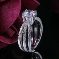Wedding Rings Engagement Gifts Size 6-10 Women Elegant Ring Jewelry Ladies White