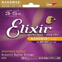 1 مجموعة Elixir Nanoweb الفوسفور البرونزية المتوسطة سلاسل الغيتار الصوتية 16102