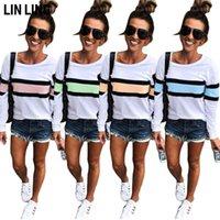 Женская футболка Linling Daily Deskwork Striped Top White Contrast Color Cound Wold Folding Pultover с длинным рукавом свитер
