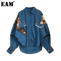 [EAM] Женщины Pattern Print Blue Blue Blouse Blouse отворот фонарь рукава свободная подходит рубашка мода прилив весна осень jl755