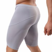 Men's Long Boxershorts Underwear Men Fitness Sports Stretch Tights Five-Point Shorts Leggings Breathable Solid Male Panties Underpants