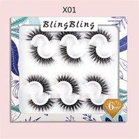 New 6 Pairs 5D Faux Mink Eyelash Fluffy Wispy False Eyelashes Extension Full Strip Handmade Natural Soft Fake Lashes Makeup Tool