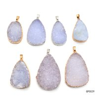 7Pcs Mixed Agate Durzy Stone Pendants Natural Gemstone Quartz Pendants Gold Plated for Necklace Women Jewelry Gifts