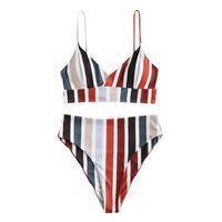 Fashion Women Swimwear Two Pieces Patchwork Horizontal Stripes Print Split Sets Plus Size Beachwear Swimsuit Bikini Women's