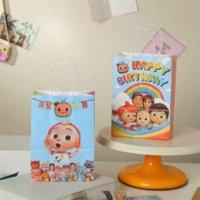 Милый мультфильм Cocomelon Детская подарочная сумка Прекрасная рука Сумка Портативная Радуга Мода Для Детей Творческие Бумажные Сумки Подарочная Упаковка Polybags GYQQQ