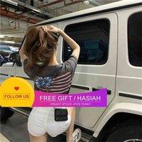 Crosin Stripe Versatile Fashion Ch Loose Korean Crosst-shirt Women's Grey Short Sleeve Round Neck Top Spring Summer 2