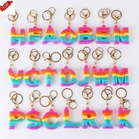 Decompression Toy Rainbow Letter Pvc Keychain Pendant Soft Silicone Color Car Bridal Gift Party Supplies Baby Shower Decorations