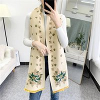 Scarves Shawl Women's Winter Warmth Imitation Cashmere Scarf Long Flower Thick Double-sided Bib Dual-use